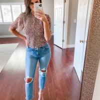 Floral Top + Jeans + Nude Heels
